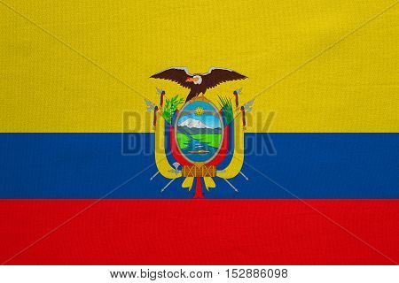 Ecuadorian national official flag. Patriotic symbol banner element background. Correct colors. Flag of Ecuador with real detailed fabric texture accurate size illustration