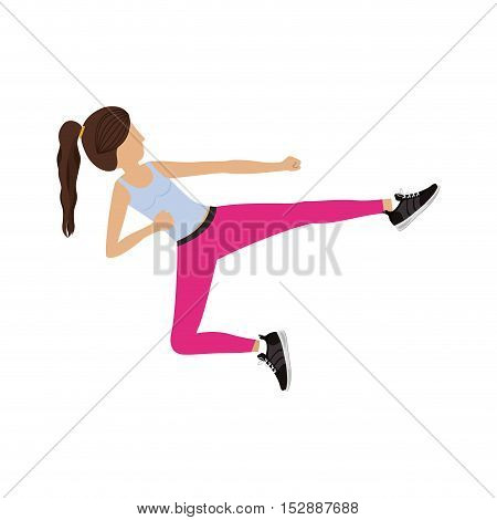 silhouette color woman martial arts flying kick vector illustration