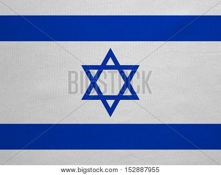 Israeli national official flag. Patriotic symbol banner element background. Correct colors. Flag of Israel with real detailed fabric texture accurate size illustration