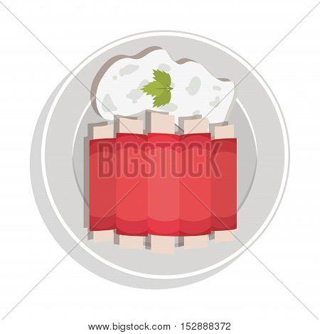 food plate rib onion cilantro leaf vector illustration
