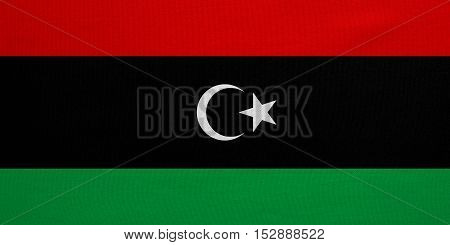 Libyan national official flag. African patriotic symbol banner element background. Correct colors. Flag of Libya with real detailed fabric texture accurate size illustration