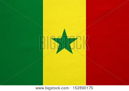 Senegalese national official flag. African patriotic symbol banner element background. Correct colors. Flag of Senegal with real detailed fabric texture accurate size illustration