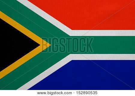 South African national official flag. Patriotic symbol banner element background. Correct colors. Flag of South Africa with real detailed fabric texture accurate size illustration