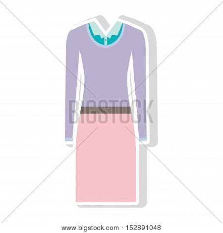 pink skirt and blue blouse with purple sweater . executive women clothes design. vector illustration