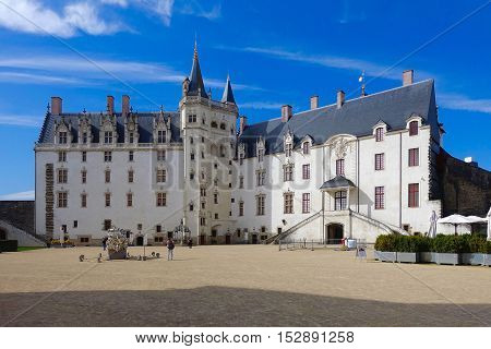 Nantes, France, October 5, 2016: The castle of the Dukes of Brittany of Nantes in France.
