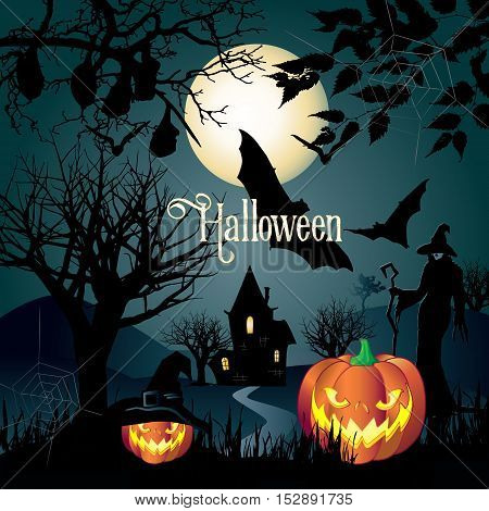 Halloween. Halloween Holiday. Halloween background. Halloween illustration with Halloween pumpkin, bat, trees, Halloween House, moon and witch woman for Halloween Holiday party.