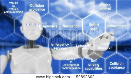 Hexagon grid with connected smart car features on a blue street background with a female robot touching the tiles 3D illustration