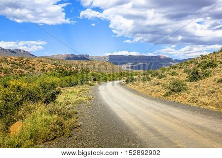 Scenic african landscape in Karoo National Park, Western Cape province of South Africa. The parks of South Africa are famous for the magnificent scenery and wildlife.
