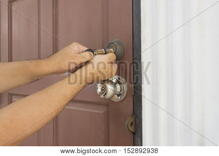 locksmith try to use cylinder key for open the door - can use to displaly or montage on products