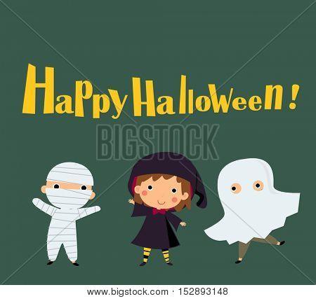 Happy halloween - Cute kids wearing Halloween monster costume
