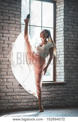 Freedom in motion. Young and incredibly beautiful ballerina posing and dancing in dance studio full of light