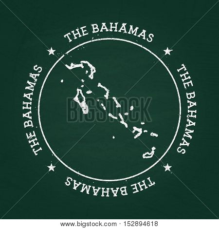 White Chalk Texture Rubber Seal With Commonwealth Of The Bahamas Map On A Green Blackboard. Grunge R