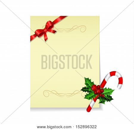 Christmas party invitation withor wish list with holy candy cane