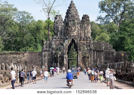 SIEM REAPCAMBODIA-OCT 14 : Tourist went in Angkor Thom October 14,2016,Siem Reap,Cambodia.