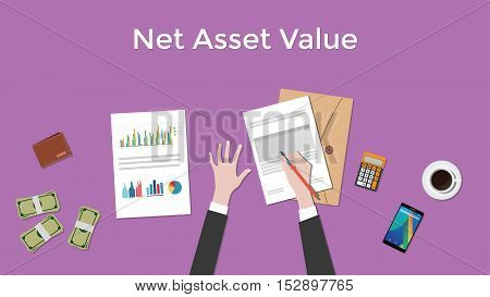 net asset value nav illustration with business man working on paper document graph paper document money and signing a paper vector