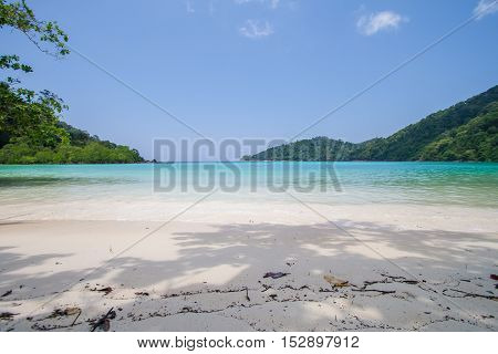 White Sand And Blue Sea In The Fresh Sunny Day