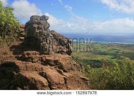 View of the coast line from Sleeping Giant Mountain on Kauai, Hawaii