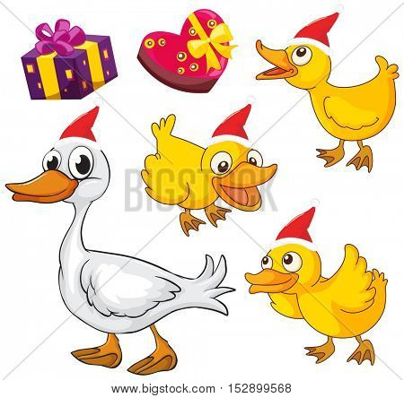 Christmas theme with ducks and presents illustration