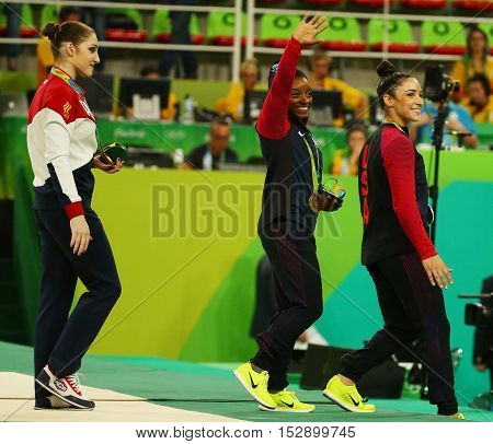 RIO DE JANEIRO, BRAZIL -AUGUST 11, 2016: Women's all-around gymnastics bronze medalist at Rio 2016 Olympic Games Aliya Mustafina of Russian Federation after medal ceremony