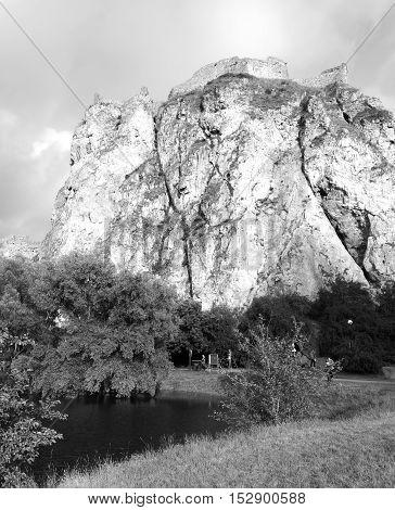 Castle Devin in Bratislava in black and white