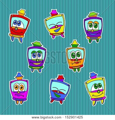 Funny kids trams stickers set, bright colored. Vector illustration on blue striped background. Kids style.