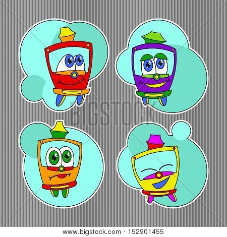 Bright colored set with funny kids trams. Vector illustration on striped background. Kids style.