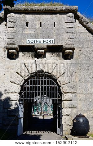 Entrance with portcullis to Nothe Fort Weymouth Dorset England UK Western Europe.