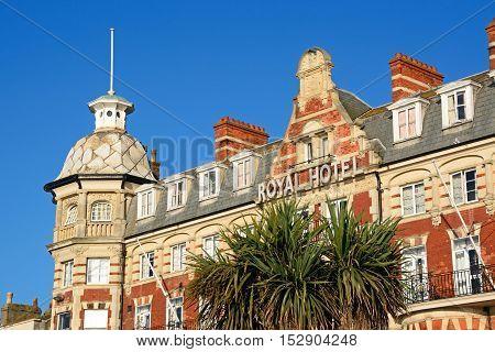 WEYMOUTH, UNITED KINGDOM - JULY 19, 2016 - View of the Victorian Royal Hotel along the Esplanade promenade Weymouth Dorset England UK Western Europe, July 19, 2016.