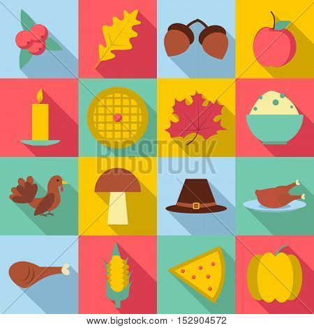 Thanksgiving Day Autumn icons set. Flat illustration of 16 Thanksgiving Day autumn vector icons for web