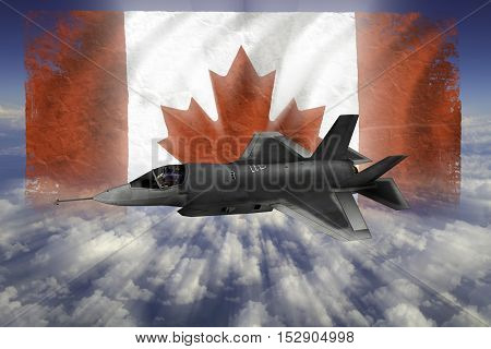 F-35 Modern Stealth Flighter With Flag Of Canada
