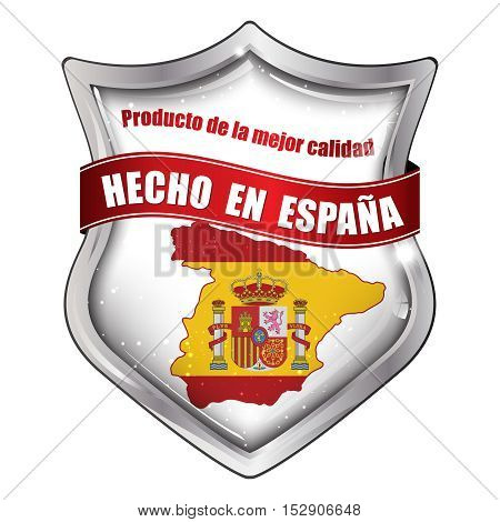 Made in Spain, Best quality product (Text in Spain: Hecho en Espana, Producto de la mejor calidad) - business commerce shiny icon with the Spanish flag and map on the background.