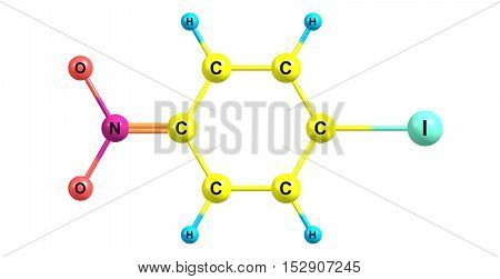 4-Iodo-1-nitrobenzene is an important raw material and intermediate used in organic synthesis, pharmaceuticals agrochemicals and dyestuff fields. 3d illustration