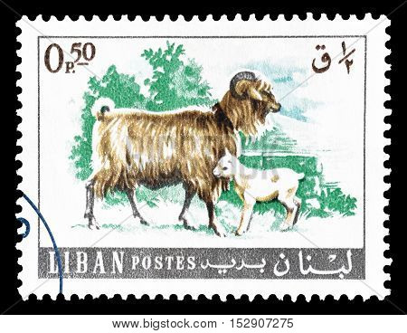LEBANON - CIRCA 1968 : Cancelled postage stamp printed by Lebanon, that shows Goats.