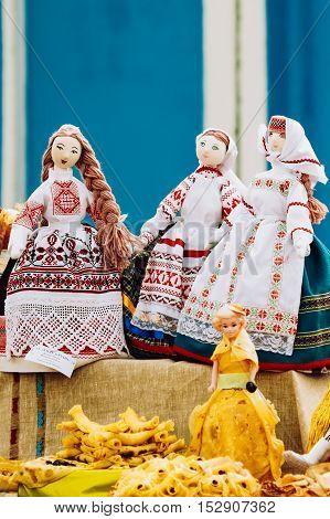 Souvenir dolls from Belarus. Folk art of cloth and dress in national Belarus