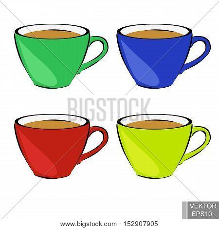 Set of four mugs. Tea. Hot drinks. Vivacity. For your design.