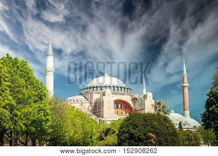 Hagia Sophia museum, Istanbul, Turkey. Aya Sofia mosque exterior in Istanbul, Turkey