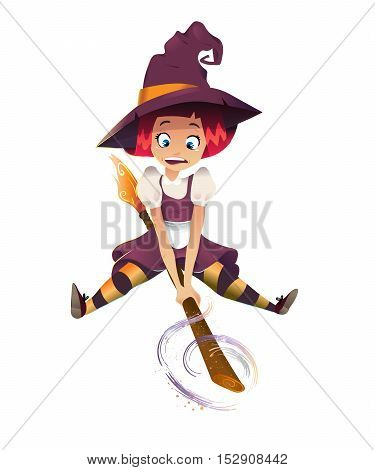 illustration of scared witch flying on broom. little young girl character. white background. magic sparcle. happy halloween
