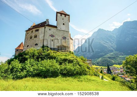 Balzers, Liechtenstein - July 01, 2016: Landscape view on Gutenberg castle in Balzers town at the morning