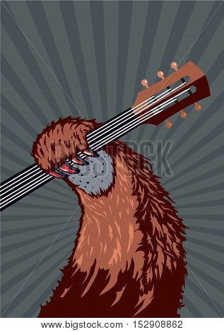 Music poster background for concert, festivals and party. Animal holding guitar.