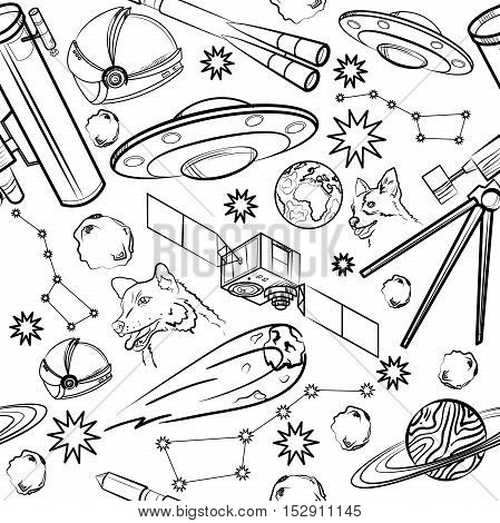 Pattern with space elements. Astronaut, Earth, Saturn, Moon, UFO, Rocket Comet Constellation Sputnik and stars