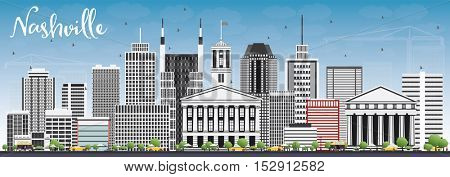 Nashville Skyline with Gray Buildings and Blue Sky. Vector Illustration. Business Travel and Tourism Concept with Modern Architecture. Image for Presentation Banner Placard and Web Site.