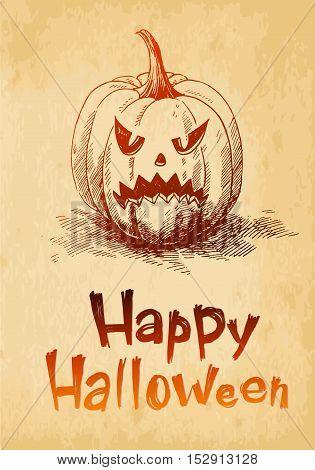 Happy Halloween pumpkin Jack O Lantern drawn in a sketch style.