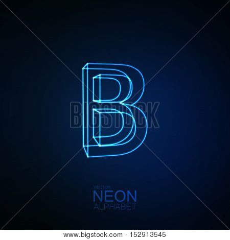 Neon 3D letter B. Typographic element. Part of glow neon alphabet. Vector illustration