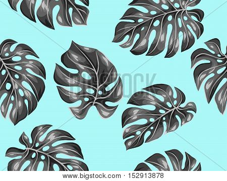 Seamless pattern with monstera leaves. Decorative image of tropical foliage.