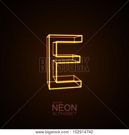 Neon 3D letter E. Typographic vector element for design. Part of glow neon alphabet. Vector illustration
