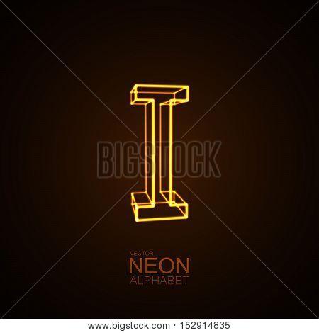 Neon 3D letter I. Typographic vector element for design. Part of glow neon alphabet. Vector illustration