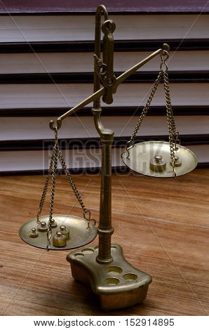 Close up of Old Golden weighing scale balance