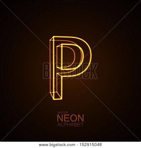 Neon 3D letter P. Typographic vector element for design. Part of glow neon alphabet. Vector illustration