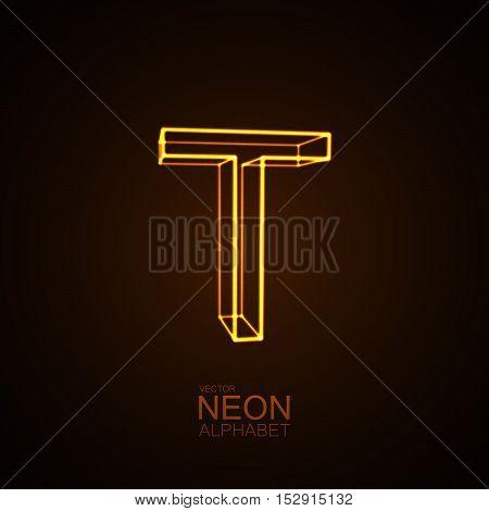 Neon 3D letter T. Typographic vector element for design. Part of glow neon alphabet. Vector illustration