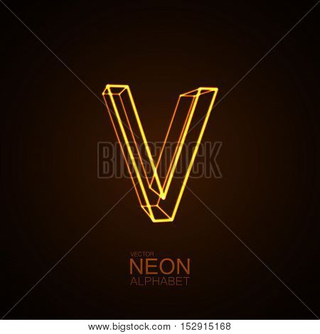Neon 3D letter V. Typographic vector element for design. Part of glow neon alphabet. Vector illustration